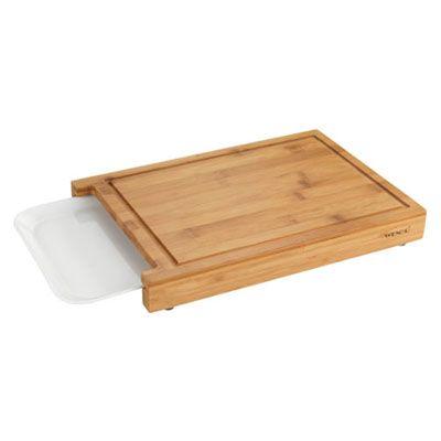 Tabla de cortar de bambú con bandeja extraíble