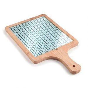 tabla corte bambú con base de cristal