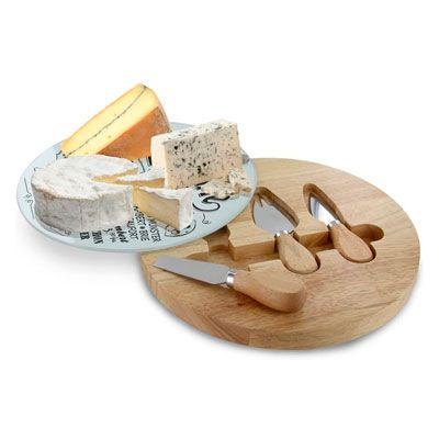 Tabla para cortar quesos con 3 cuchillos y tapa de cristal